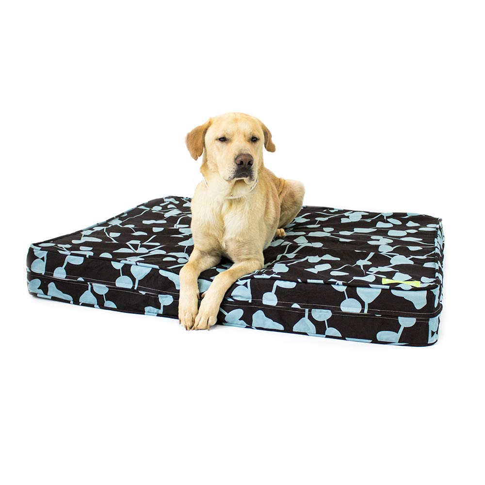 eLuxurySupply Dog Bed – Brown Blue Orthopedic Gel Memory Foam – Made in The USA Durable 100 Cotton Canvas Cover Waterproof Encasement Machine Washable Small, Medium Large Dogs
