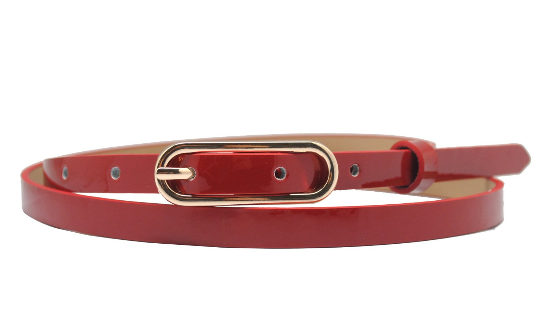Girls Patent Leather Belts Skinny Genuine Leather Belt
