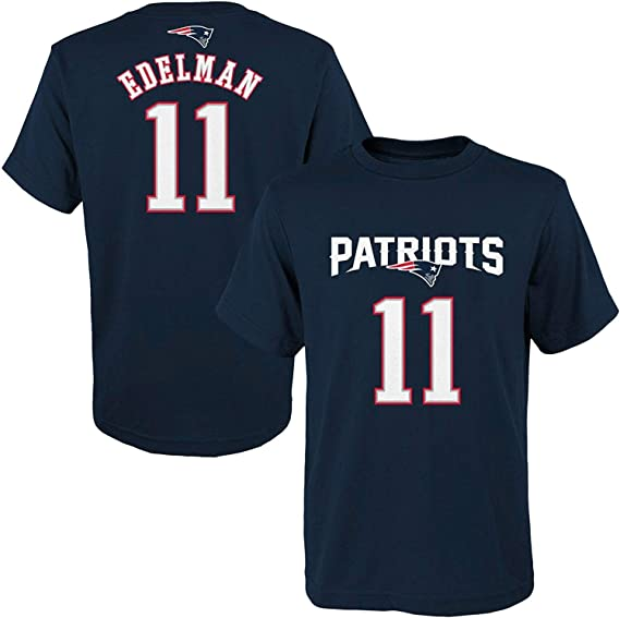 Julian Edelman New England Patriots NFL Youth 8-20 Navy Blue Official Player Name & Number T-Shirt