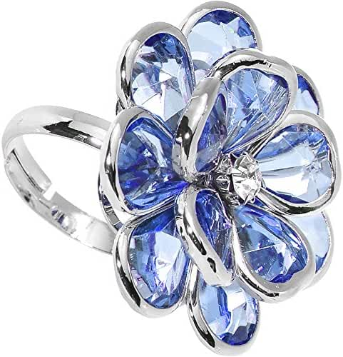 Blue Faceted Blooming Flower Adjustable Ring