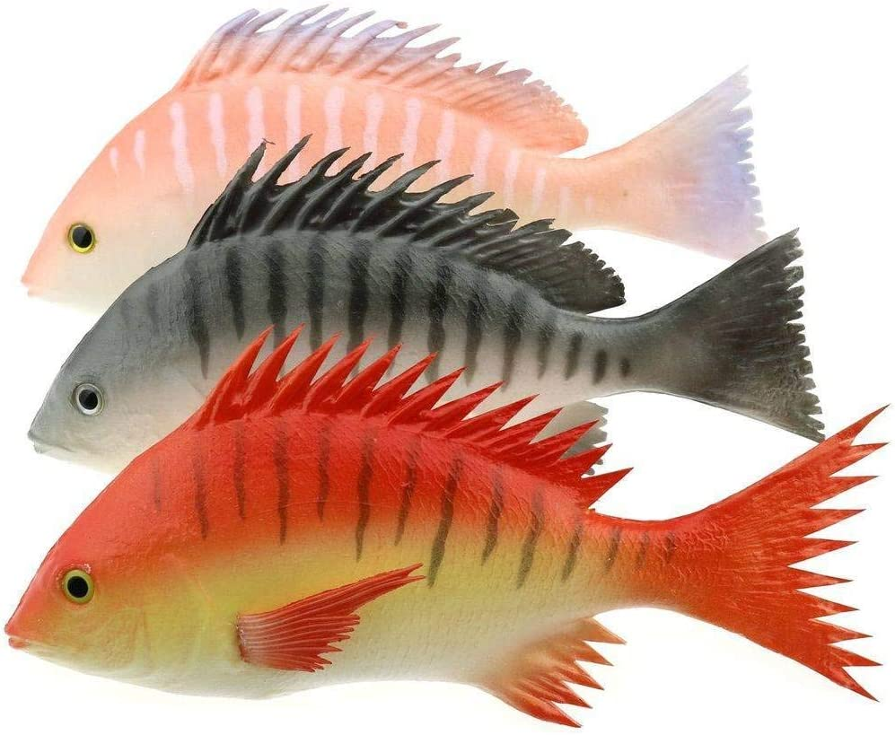 Gresorth 3 PCS Fake Striped Bass Fish Artificial Snapper Model Realistic Ornament Pretend Food Toy Home Party Kitchen Christmas Decoration