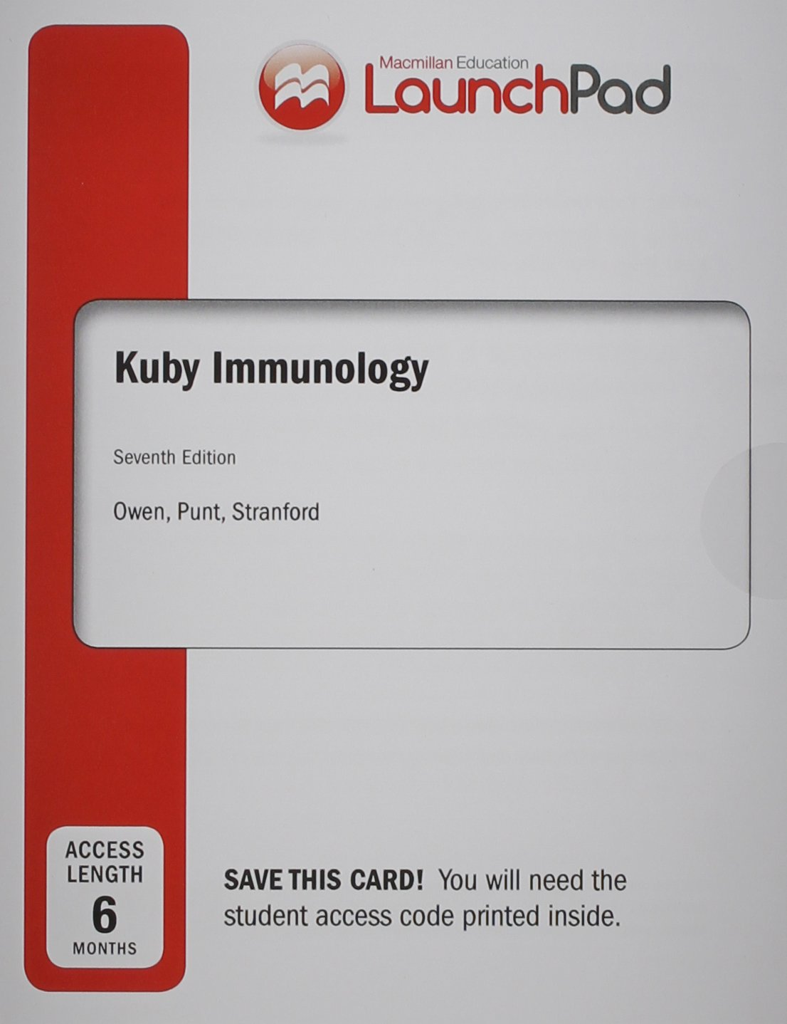 Immunology (Loose Leaf) & Launchpad 6 Month Access Card: Amazon.co.uk: Judy  Owen: 9781464193361: Books