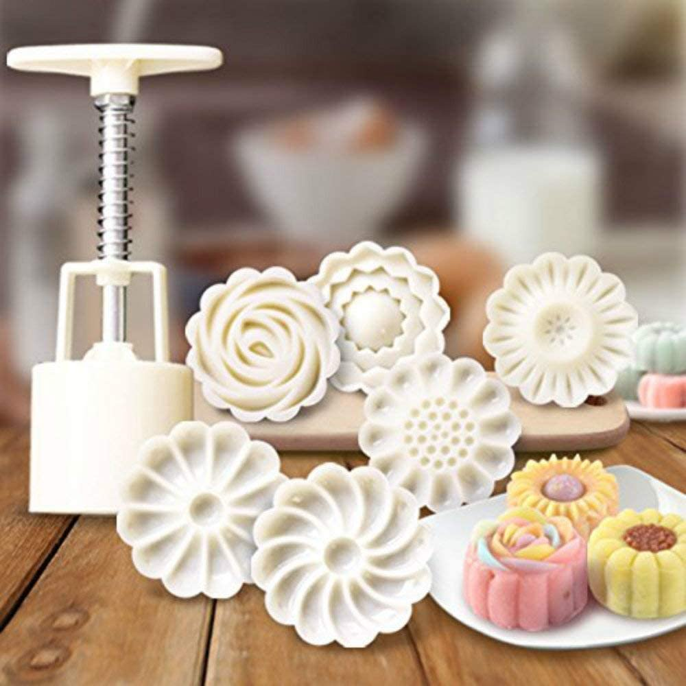 Bakery Flower Shape Mooncake Mold,Oriental Pastry and Confectionery Molds Moon Cake Mold Mooncake Mould Cookie Stamp Maamoul Form flower