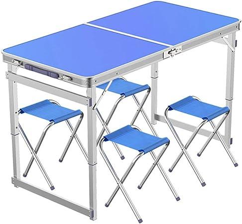 Mesa Plegable sillas de jardín, Plegable de Metal for Uso en Interiores o al Aire Libre, fácil de Instalar Durabilidad y facilitar su Limpieza fácil Almacenamiento (Color : Azul): Amazon.es: Hogar