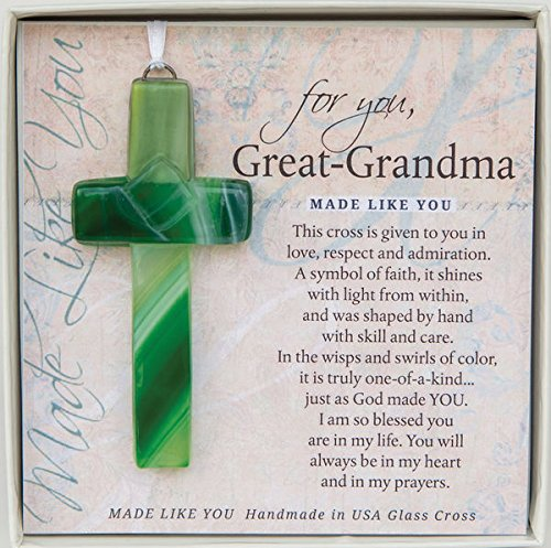 Great-Grandma Handmade Glass Cross With Poetry