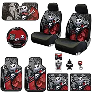 New 15 Pieces Nightmare Before Christmas Jack Skellington Ghostly Car Truck SUV Seat Covers Floor Mat Bundle Set