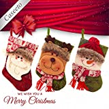 Caseeto Traditional Christmas Stockings Classical New Year Socks Gift Holder for Holiday Party Decoration Xmas Tree Hanging Ornament (Small (22cm*13cm*15 cm), Santa Claus, Snowman, Reindeer)