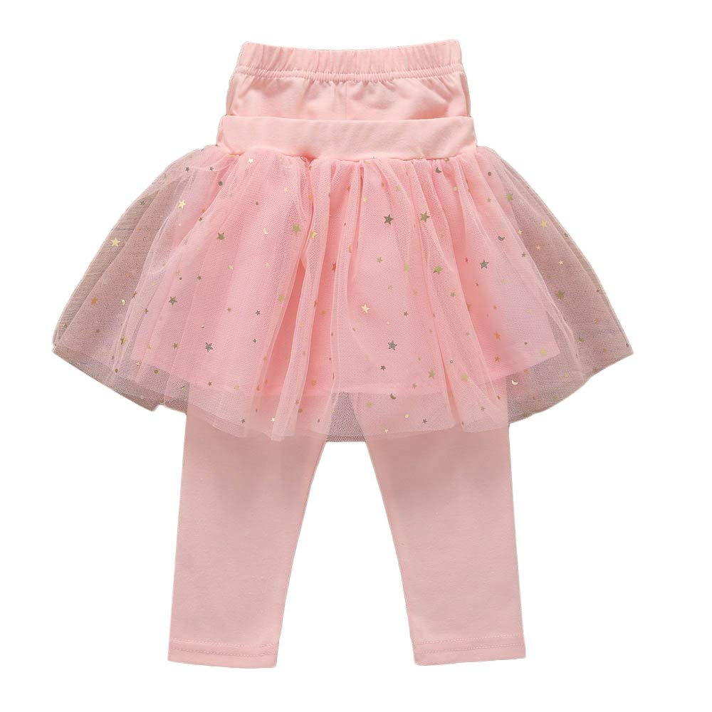 Kobay Baby Girls Skirts, Kids Infant Culottes Leggings Gauze Knee-Length Pants Bowknot Tutu Skirts for 1-5 Years