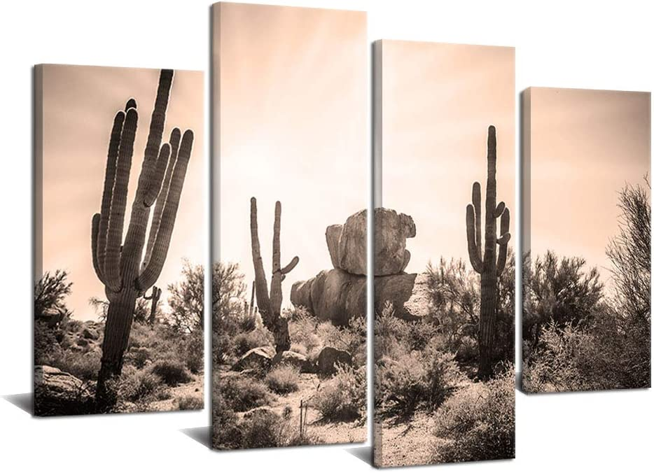 4 Piece Sonoran Desert Canvas Wall Painting USA Natural Landscape Picture Print Sunset with Saguaros Cacti Modern Artwork Home Decor Stretched and Framed Ready to Hang