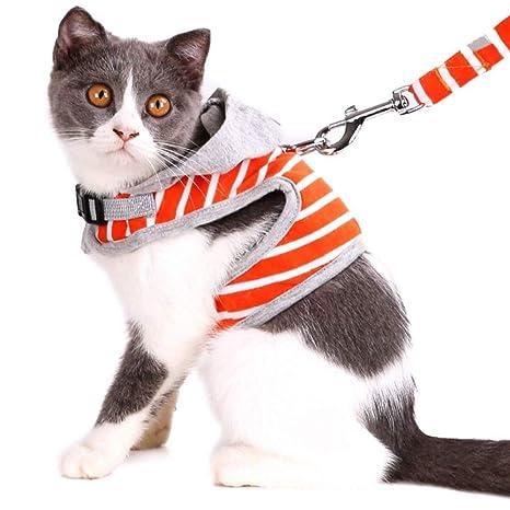 ASOCEA Arnés para Gato con Correa Ajustable de algodón Suave a Rayas para Mascotas arnés con