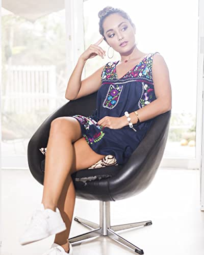 de8ec806977 Amazon.com  Mexican Embroidered Shift Dress in Navy Blue SIZE LRG  Handmade