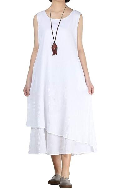Amazon.com: Mordenmiss - Vestido sin mangas de algodón y ...