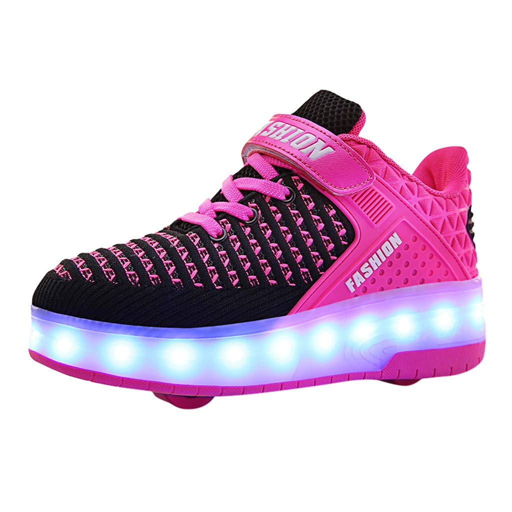 Kauneus LED Light Up Roller Shoes for Kids Wheeled Skate Sneaker Shoes for Boys Girls Thanksgiving Christmas Day Best Gift Hot Pink by Kauneus Kid Shoes NEW