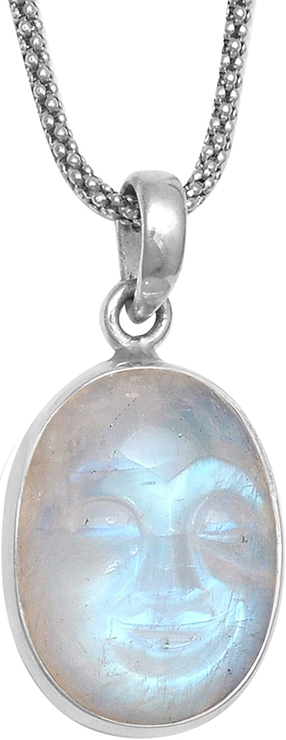 COLORS OF JEWELS 925 Sterling Silver Moonstone Carved Face Semi Precious Gemstone Pendant