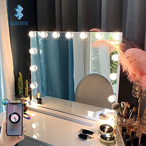 FENCHILIN Large Vanity Mirror with Lights and Blutooth Speaker, Hollywood Lighted Makeup Mirror with 15 Dimmable LED Bulbs for Dressing Room Bedroom, Tabletop or Wall-Mounted, Slim Metal Frame White
