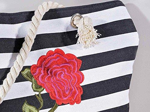 2 Borsa in stoffa con toppa a rosa ricamata e manici in corda
