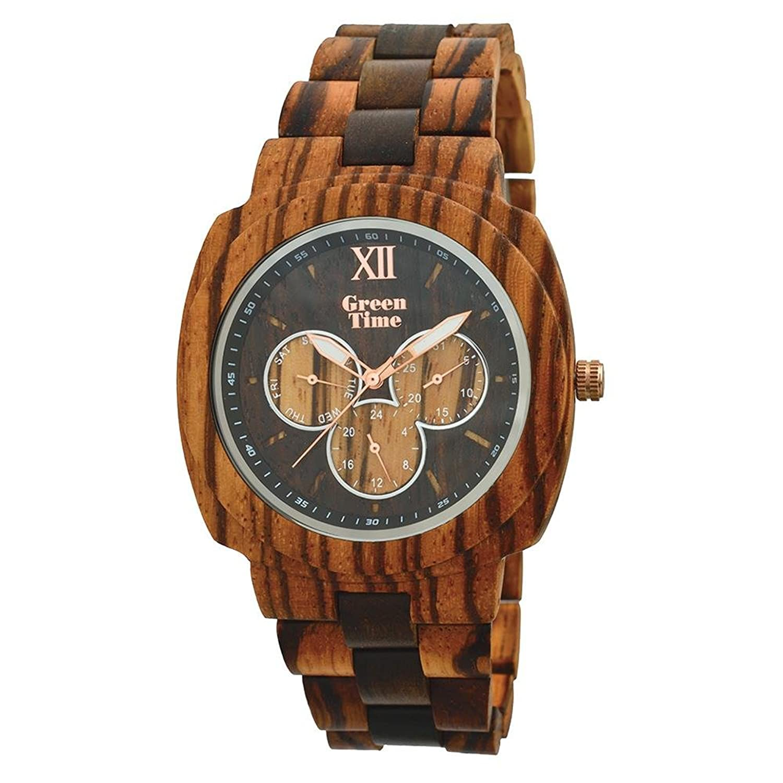 Herren Multifunktions Armbanduhr aus Holz Green Time zw049 a Kollektion Spring 2017