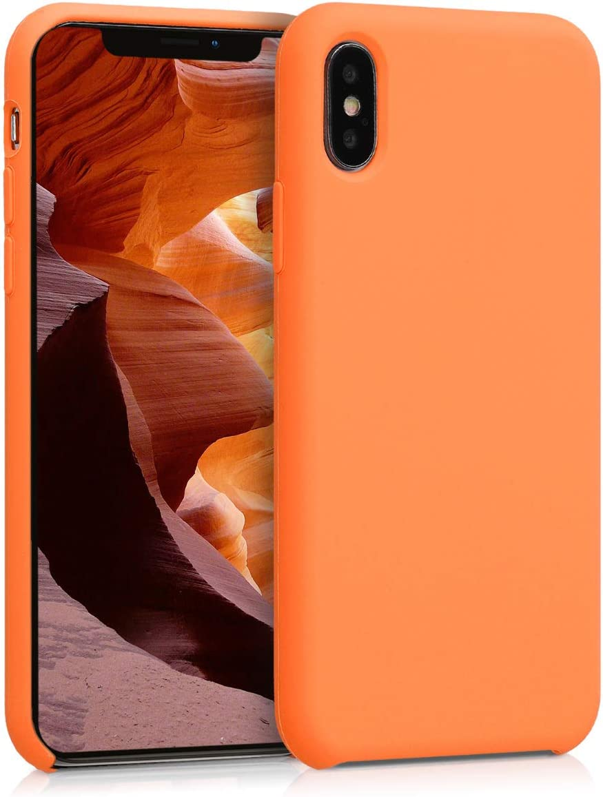 kwmobile TPU Silicone Case Compatible with Apple iPhone X - Soft Flexible Rubber Protective Cover - Cosmic Orange