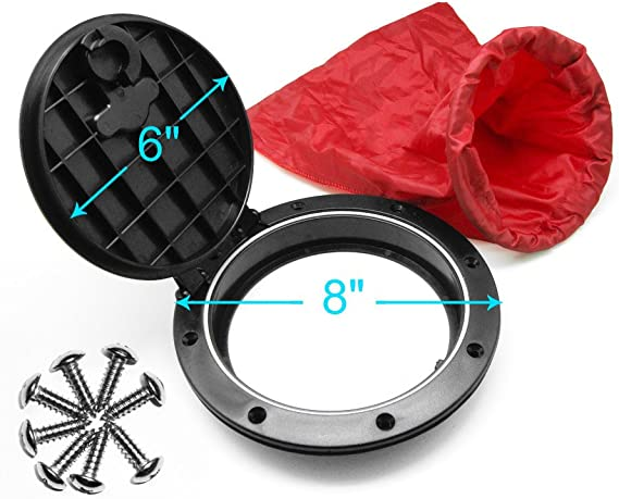 Fransande 9 Inch Marine Cover Pull Out Deck Plate Hole Deck Plate Kit Hatch with Kayak Boat Fishing Rigging Boat Kayak Accessories