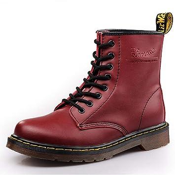 Xxoshoe De los Hombres Ocasionales con Cordones Punta Redonda Moda Botines Martin Boots para Hombres Botines de Combate Moda Martens Boots Tres Colores ...