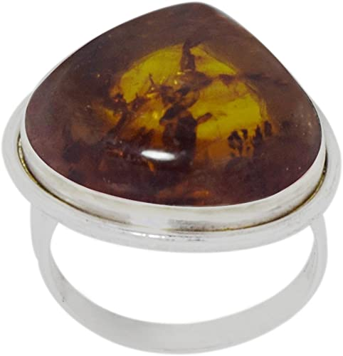 DELIGHTFUL NATURAL BALTIC AMBER 925 STERLING SILVER RING SIZE 5-10