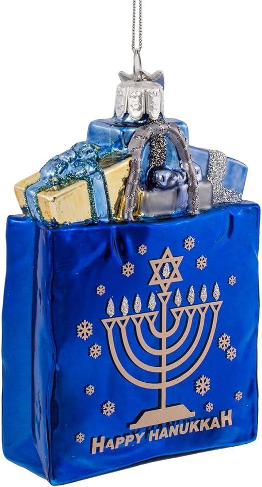 """Kurt Adler 4"""" Noble Gems Happy Hanukkah Glass Gift Bag Ornament (NB1126)"""