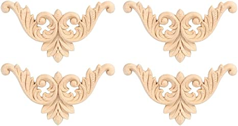 S Furniture Home Door Cabinet Decor Wood Carved Applique European Style