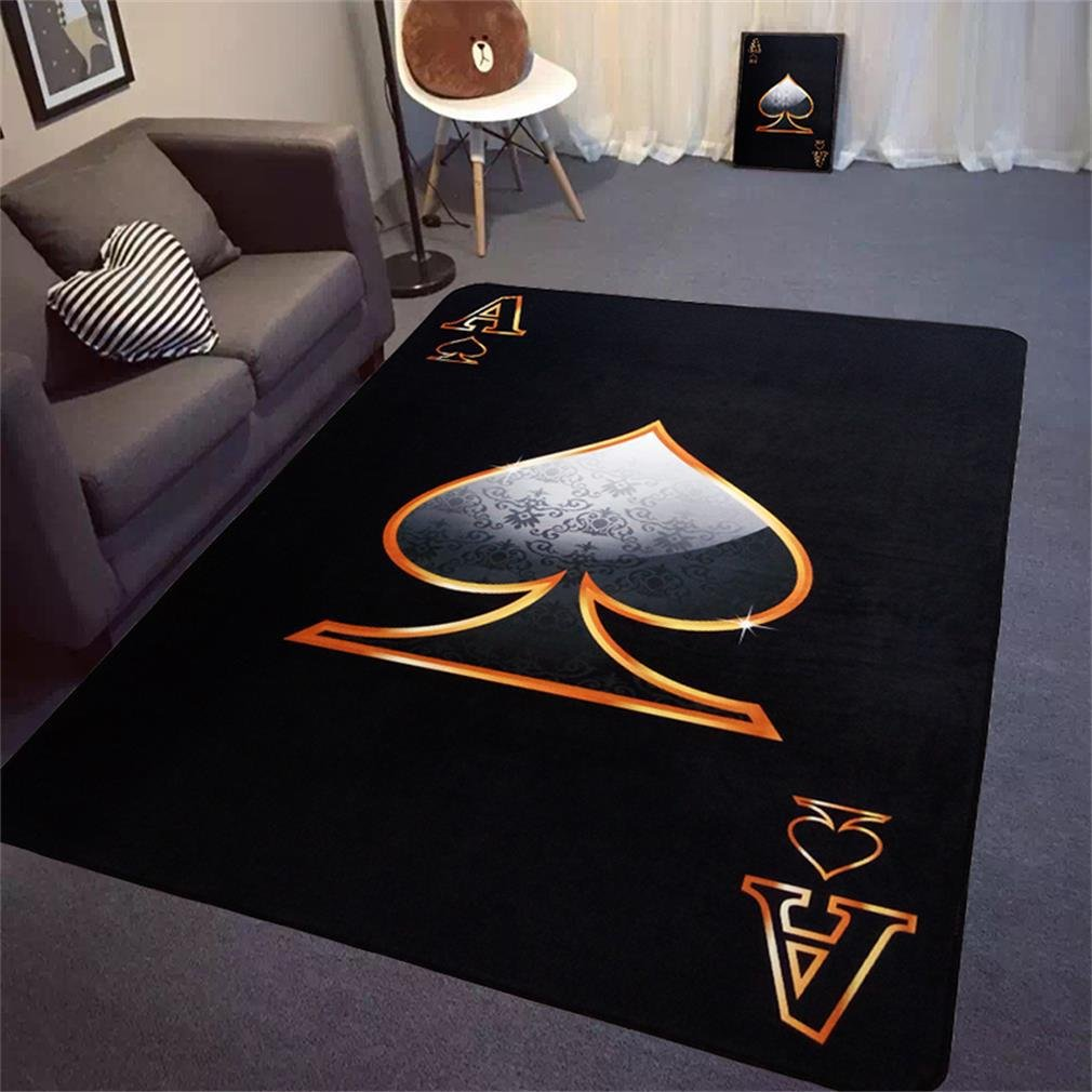 XFJ Teppich Wohnzimmer Schlafzimmer Rechteckiger Teppich Polyestermaterial Poker A Schwarz, 1 , 160230cm