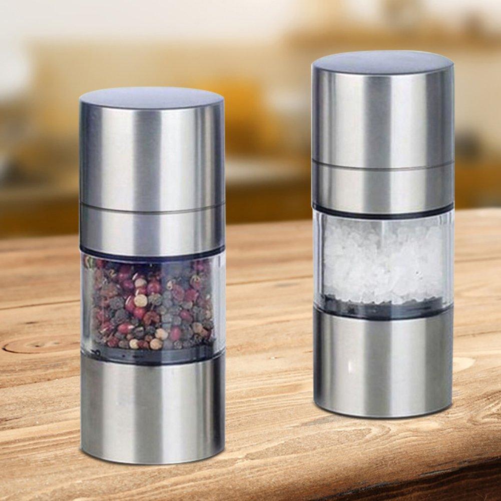 Manual Pepper Mill Stainless Steel Salt Pepper,Grinder Portable Spice Seasoning Kitchen Tools,Salt and Pepper Grinder