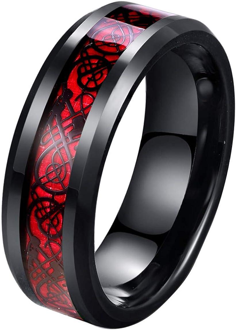 Tanyoyo 8mm Red Carbon Fiber Black Celtic Dragon Ring For Men