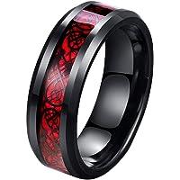 Tanyoyo 8mm Red Carbon Fiber Black Celtic Dragon Ring for Men Beveled Edges Wedding Band