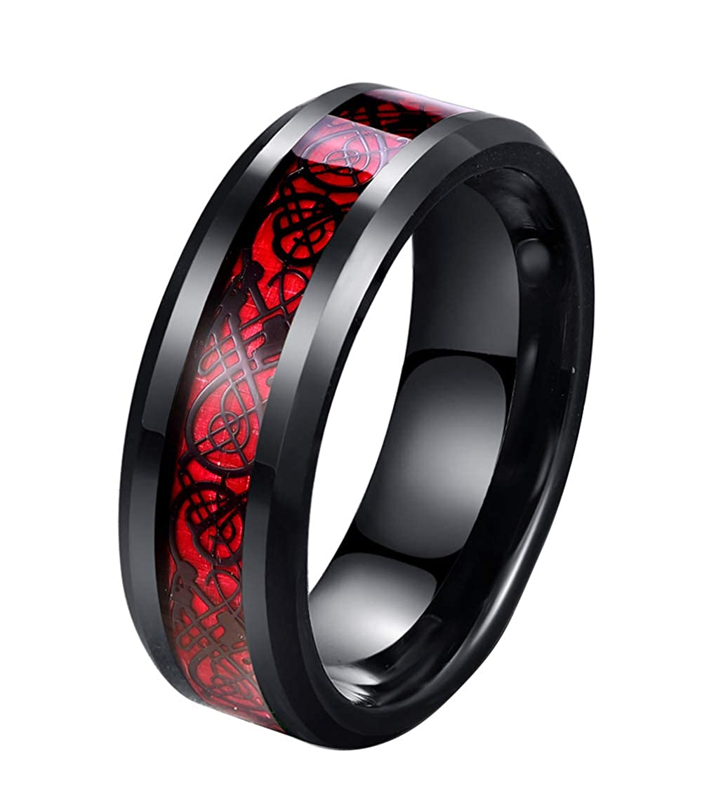Tanyoyo 8mm Red Carbon Fiber Black Celtic Dragon Ring for Men Beveled Edges Wedding Band Chang yan