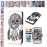 E-Mandala Apple iPhone 5 5S SE Case Campanula Skeleton Dream Catcher PU Leather Flip Case Wallet Cover with card holder kickstand Shell Soft TPU Silicone Bumper Cover