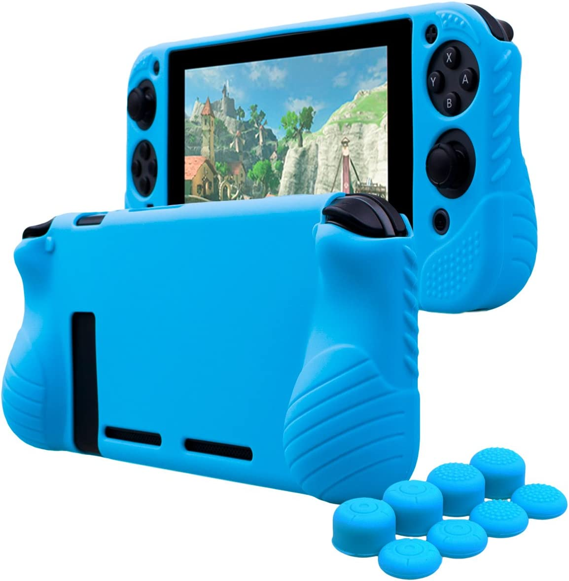 YoRHa Hand Grip No Smell Studded Silicone Cover Skin Case for Switch x 1(Blue) with Joy-Con Thumb Grips x 8