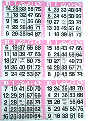 6 on Pink Bingo Paper Cards - 500 sheets - 3000 cards - Bingo Cards 6 Games