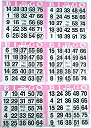 6 on Pink Bingo Paper Cards - 500 sheets - 3000 cards