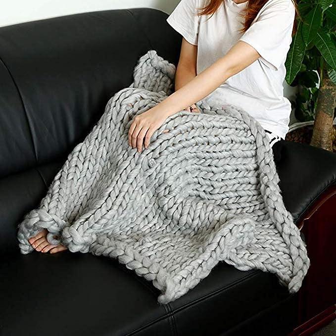 Amazon.com: INOBXR Chunky Knit Blanket, Cozy Throw Blanket ...