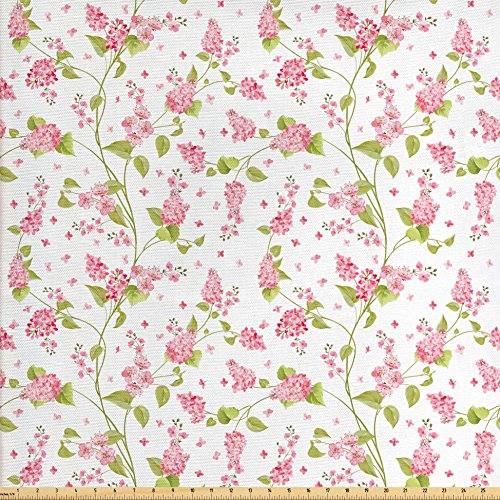 Ambesonne Shabby Chic Fabric by the Yard, Nature Blossoms Buds Flowers Lavenders Florals Leaves Ivy Artwork, Decorative Fabric for Upholstery and Home Accents, Pink White and - Decor Fabric Upholstery