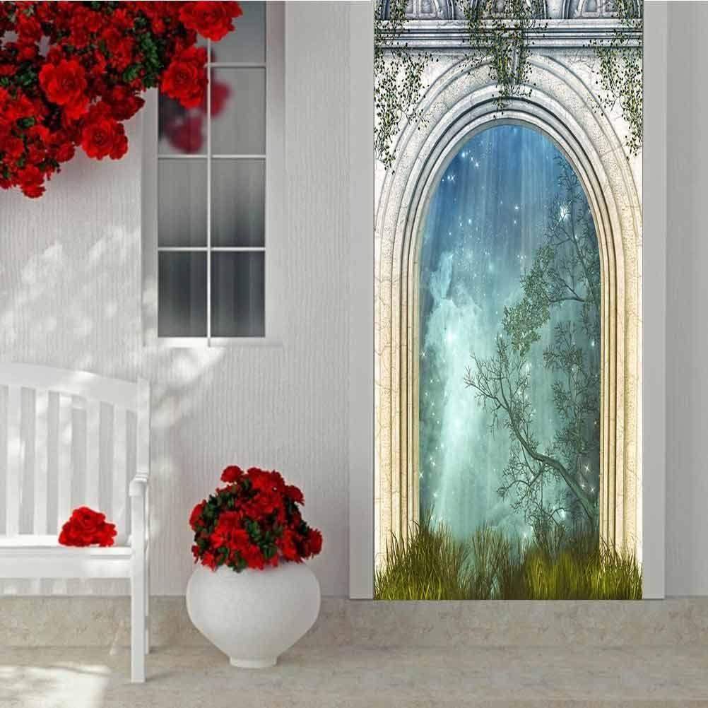 3D Door Sticker Decorative Wall Murals Wallpaper, Seamless White Grungy Pattern mit Colorful Translucent Ball, Vinyl Removable Decals für Zuhause Decorative W30.3 X L78.7 Inch