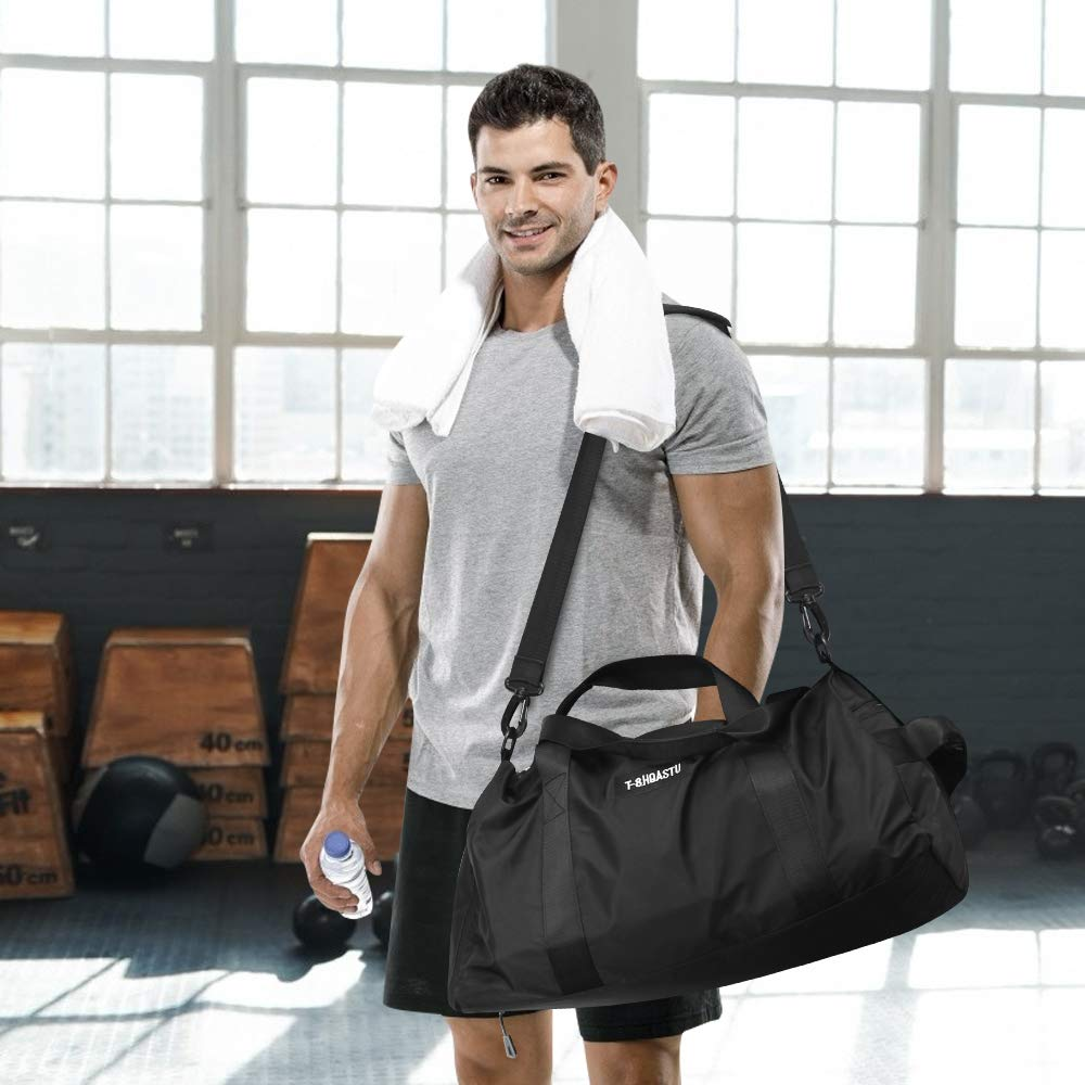Sports Gym Bag with Wet Pocket & Shoes Compartment Waterproof Swim Overnight Travel Duffel Bag for Women and Men 20-35L (black)