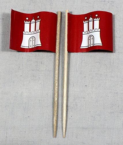 Party-Picker Flagge Hamburg Papierfähnchen in Profiqualität 50 Stück 8 cm Offsetdruck Riesenauswahl aus eigener Herstellung