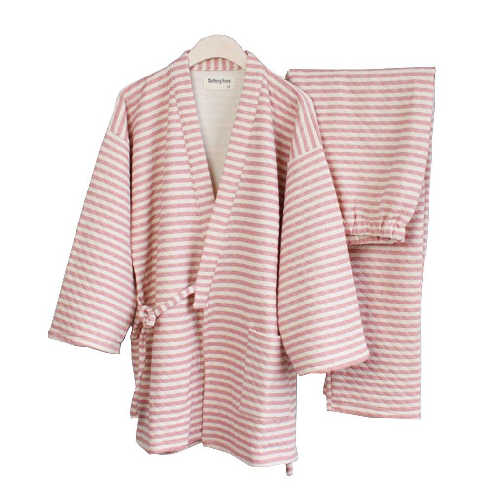 Women's Winter Kimono Pajamas Suit Thicker Warm Winter Japanese Style Robes-Pink FANCY PUMPKIN CLO-530