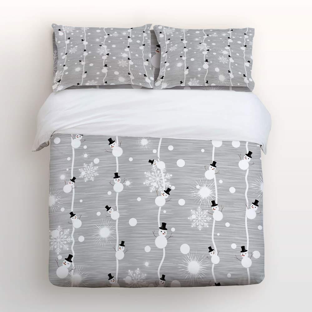 Anzona 寝具4点セット クリスマス 雪だるま つり下げ 雪の結晶テーマ イメージ 4ピース 掛け布団カバーセット ベッドスプレッド デイベッド 子供/子供/ティーン/大人用 フルサイズ 20181009zly4pcsbed-SCRY00715SJTBAZN B07JW1ZYTY Christmas-005 フルサイズ