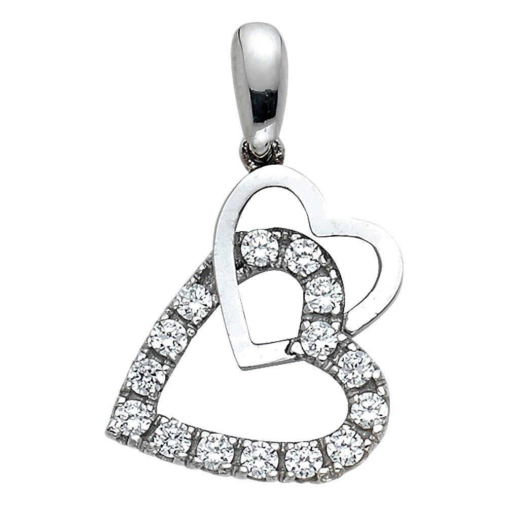 14k White Gold CZ Double Heart Pendant Charm