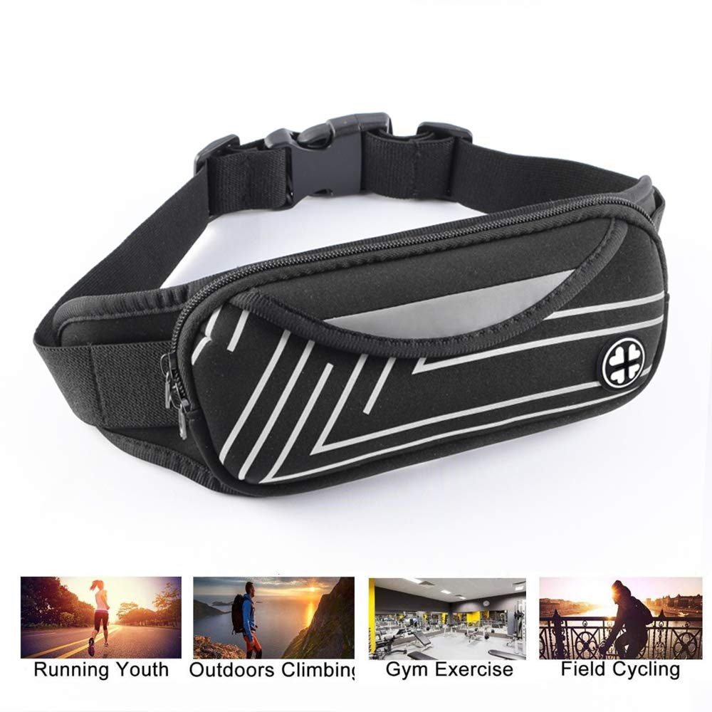 Slim Soft Waist Pack Fanny Pack Waist Bag Travel Pocket Phone Holder Running Belt with Adjustable Band For Workout Vacation Hiking Running Climbing Carrying iPhone X 8 7 Plus Samsung Galaxy S9 S8 S7