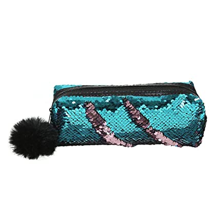 885846c2030a Amazon.com: Reversible Sequin Pencil Case with Pom Pom,Cosmetic Bag ...