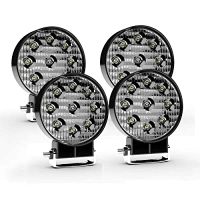 LED Light Bar TURBO SII 4Pack 27W 4 inch Round LED Truck Offroad Spot Work Light Pods Off Road Fog Driving Light for Tracktor Jeep Pickup Trailor Mower Boat SUV ATV UTV Polaris RZR Roof Rack,12V: Automotive