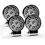 TURBO SII 4Pack 4inch 27W Flood Round Pods Led Work Light Driving Fog Light Offroad Light for Tractor Off-Road SUV Boat…