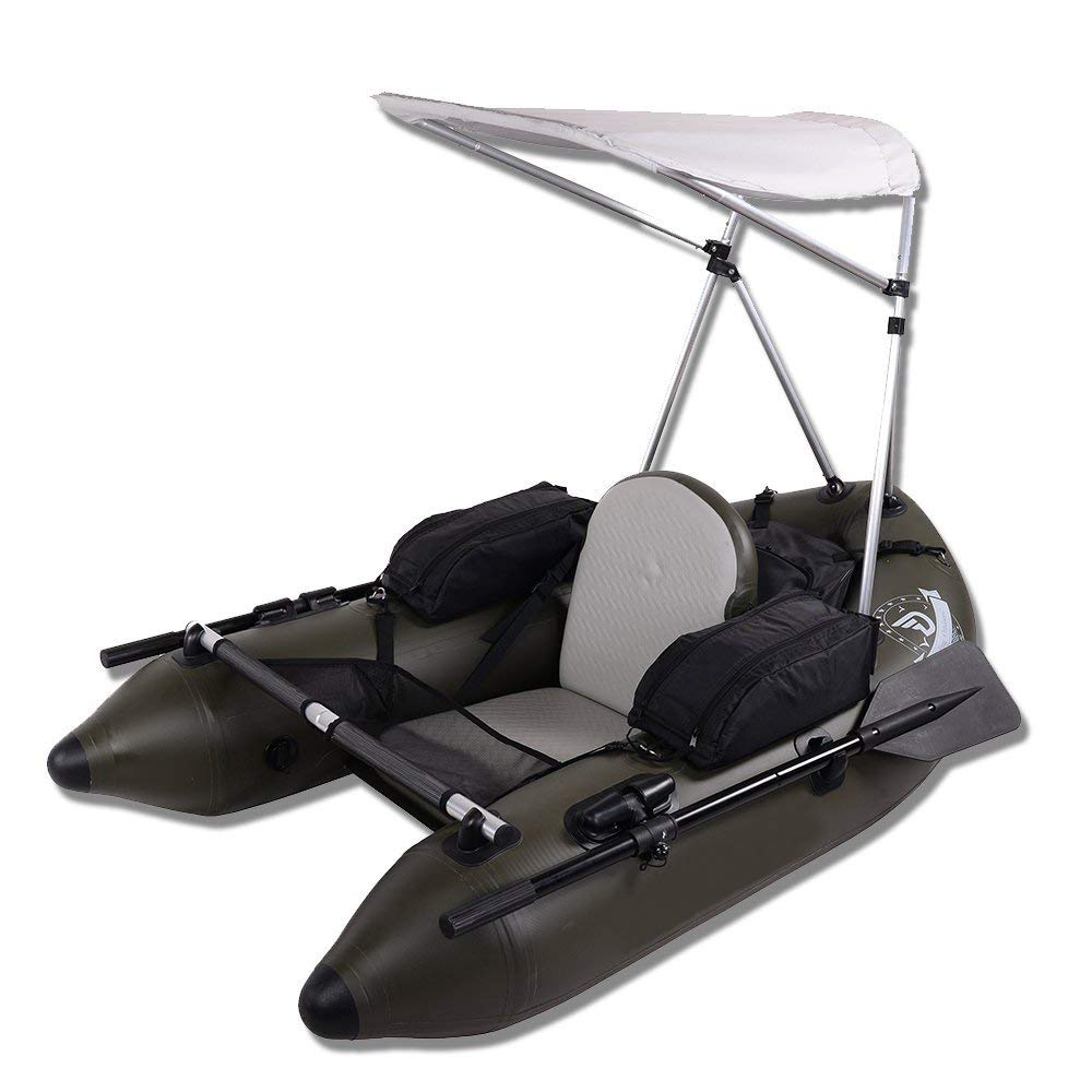 DAMA Fishing Inflatable Rafts Pontoon Tube Boat with Detachable Seat and Awning Canopy Water Inflatable Rafts Singe Person Only