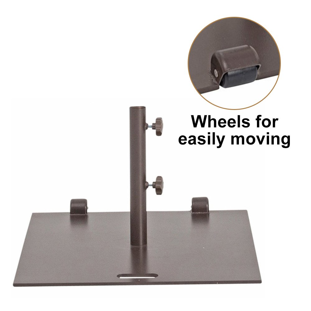 Abba Patio 53 lb. Square Steel Market Patio Umbrella Base Stand with Wheel and 2 Separate Poles for 1-1/2'' and 1-7/8'' Diameter Umbrella, 24''L x 24''W, Brown by Abba Patio (Image #3)